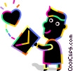 Person with love letter Vector Clip Art picture