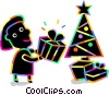 Woman placing Christmas gifts under the tree Vector Clip Art image