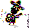 Mariachi guitar player Vector Clip Art picture