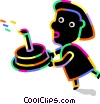 Person carrying a birthday cake Vector Clipart illustration