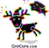 Reindeer wearing hat with shooting star Vector Clipart illustration