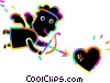 Vector Clipart graphic  of a Cupid with bow and arrow with