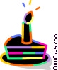 Vector Clip Art image  of a Piece of birthday cake