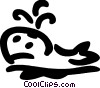 Whale coming up for air Vector Clipart picture