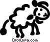Sheep walking Vector Clip Art image