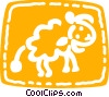 Sheep walking Vector Clip Art graphic