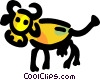 Cow with large horns Vector Clipart image