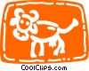 Cow with large horns Vector Clip Art picture