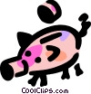 Piggy bank and coin Vector Clip Art picture