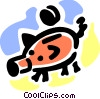 Piggy bank and coin Vector Clip Art image