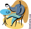 Man having coffee Vector Clipart illustration