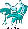 Vector Clip Art image  of a Man having coffee