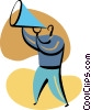 Man making announcements with megaphone Vector Clipart image