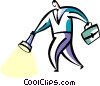 man with briefcase and flashlight Vector Clipart image