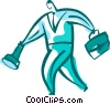 man with briefcase and flashlight Vector Clipart illustration