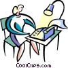 Vector Clip Art image  of a Woman typing at her desk