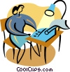 Vector Clip Art graphic  of a Woman typing at her desk