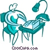 Woman typing at her desk Vector Clipart image
