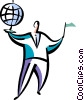 Businessman with globe and flag Vector Clipart illustration