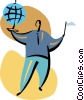 Businessman with globe and flag Vector Clip Art picture