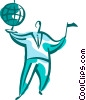 Vector Clip Art graphic  of a Businessman with globe and