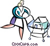Vector Clipart picture  of a Woman shopping for a new home
