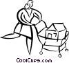 Vector Clip Art image  of a Woman shopping for a new home