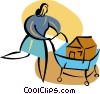 Vector Clipart illustration  of a Woman shopping for a new home