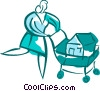 Vector Clip Art graphic  of a Woman shopping for a new home