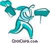 Vector Clip Art picture  of a Businessman running with full
