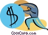 Businessman pushing money symbol Vector Clipart illustration