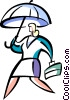 woman walking to work with umbrella Vector Clip Art picture