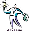 man with idea light bulb and briefcase Vector Clipart graphic