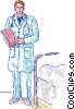 Doctor at bed of patient Vector Clipart graphic