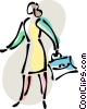 Businesswoman with briefcase Vector Clipart graphic