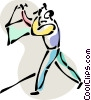 Vector Clip Art graphic  of a Man hanging a picture