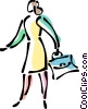 Businesswoman with briefcase Vector Clip Art image