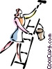 Vector Clip Art graphic  of a Woman on a ladder painting