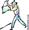Vector Clipart graphic  of a Man hanging a picture