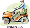 Man cutting the grass with his riding lawnmower Vector Clip Art picture