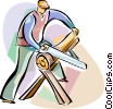 Trades person cutting a log Vector Clip Art picture