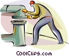 Trades person fitting pipe together Vector Clip Art image