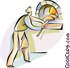 Baker putting bread into the oven Vector Clip Art graphic