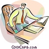 Vector Clip Art graphic  of a Doing Paperwork