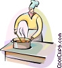 Chef stirring his sauce Vector Clip Art graphic
