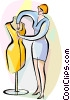 Seamstress fitting dress on mannequin Vector Clipart picture