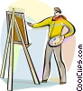 Artist painting on canvass Vector Clip Art graphic