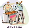 man buying lunch at hot dog vendor Vector Clip Art picture