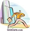Vector Clipart graphic  of a Running and Walking