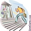 Businessmen coming and going from bank Vector Clipart illustration